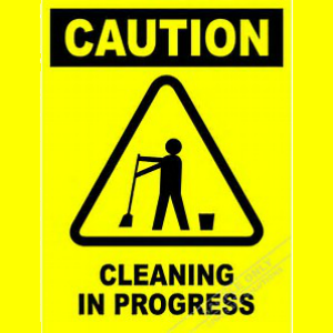 Safety Sign Caution Cleaning in Progress on yellow background