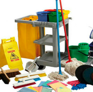 Collection of Janitorial equipment mops, microfibre towels, brush heads and safety signs