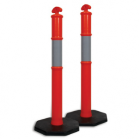 Two Bollards traffic safety devices