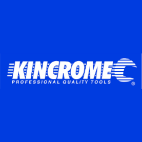 Kincrome logo white on blue background