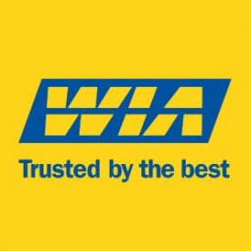 WIA Logo blue on yellow background